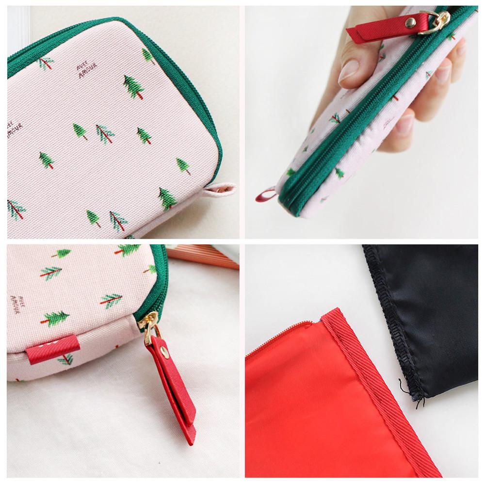 With Alice Rim pattern cotton pen pencil case