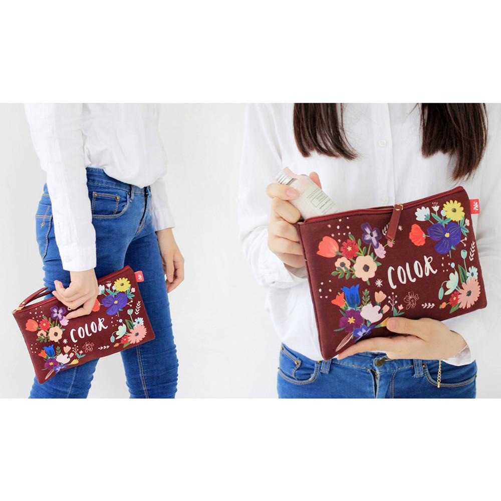 Rim pattern cotton slim zipper pouch (Large)