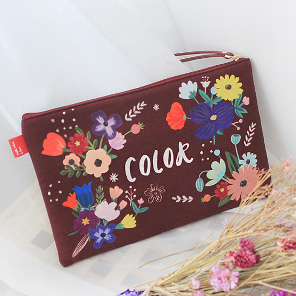Color wine - Rim pattern cotton slim zipper pouch (Large)