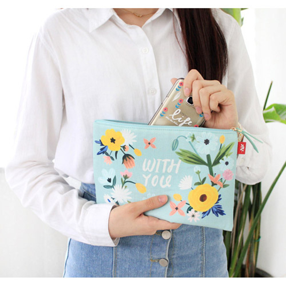 Withyou mint - Rim pattern cotton slim zipper pouch (Large)