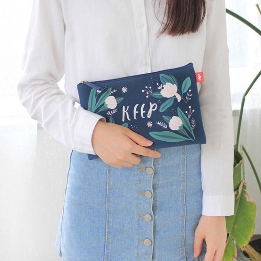 Keep navy - Rim pattern cotton slim zipper pouch (Large)