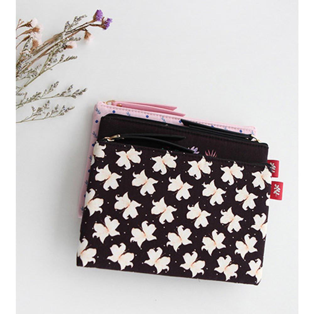 Lily - Rim pattern cotton slim zipper pouch