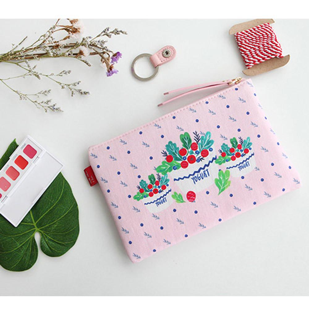 Yogurt - Rim pattern cotton slim zipper pouch