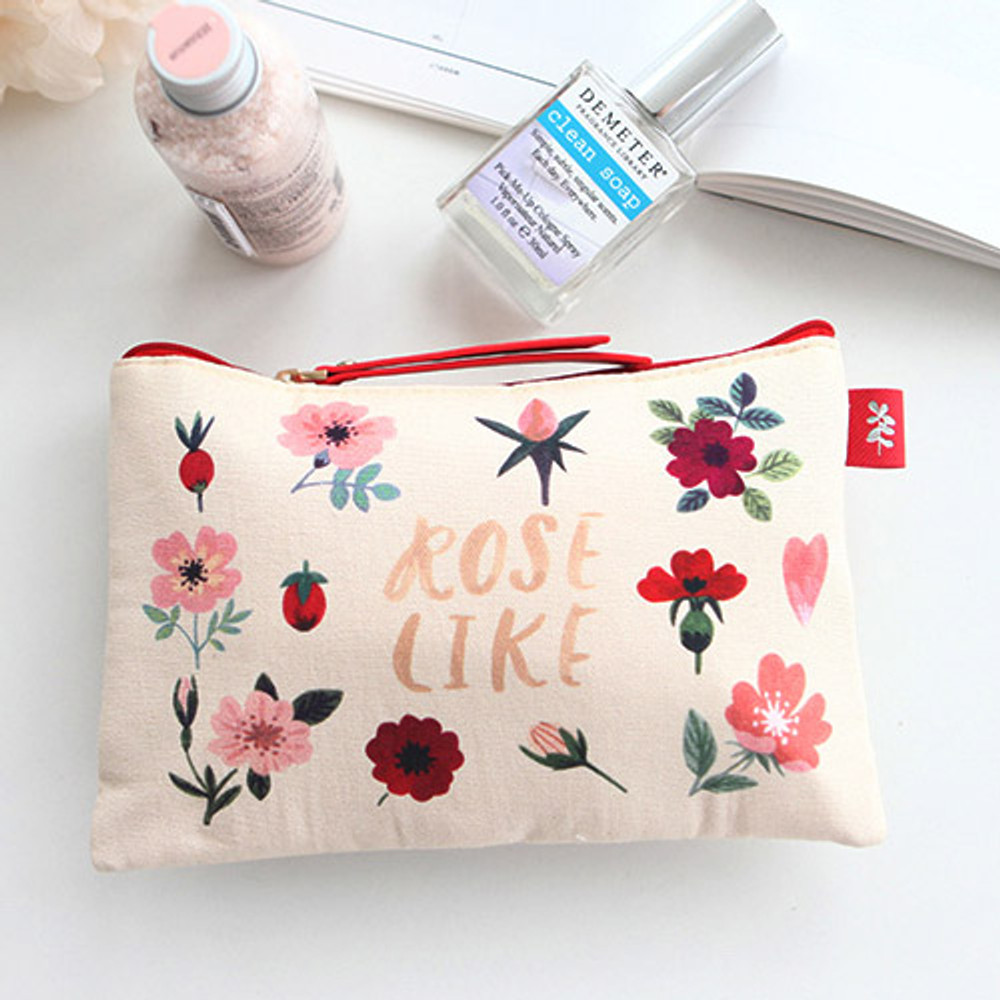 Rose like - Rim pattern cotton slim zipper pouch