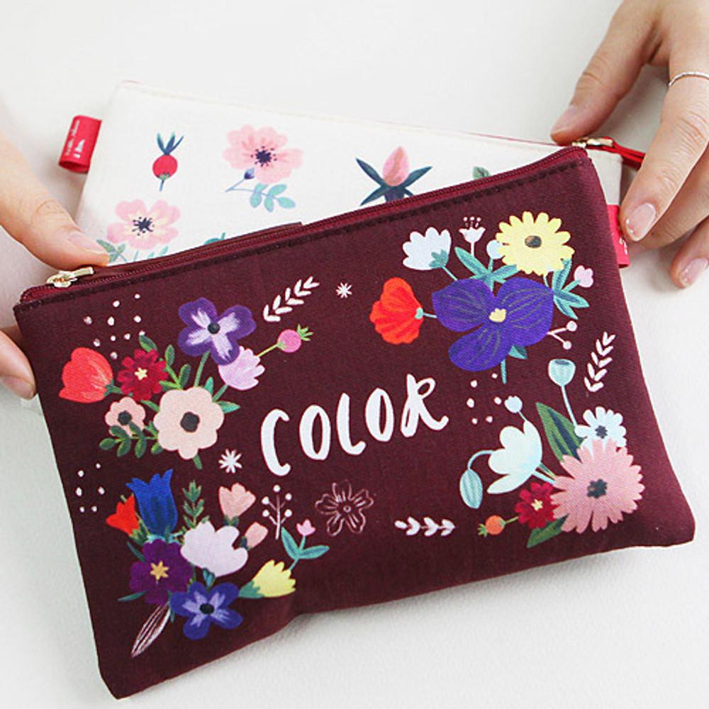 Color wine - Rim pattern cotton slim zipper pouch