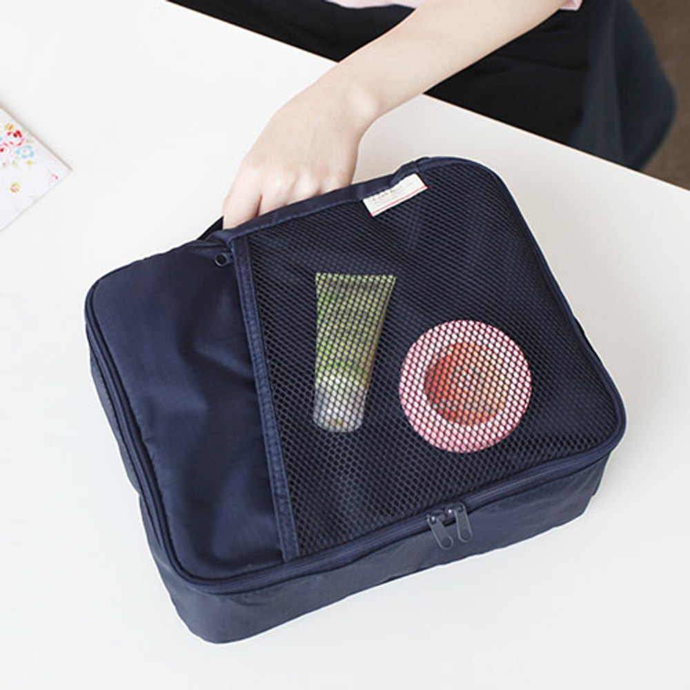 Navy - A low hill basic travel packing organizer bag