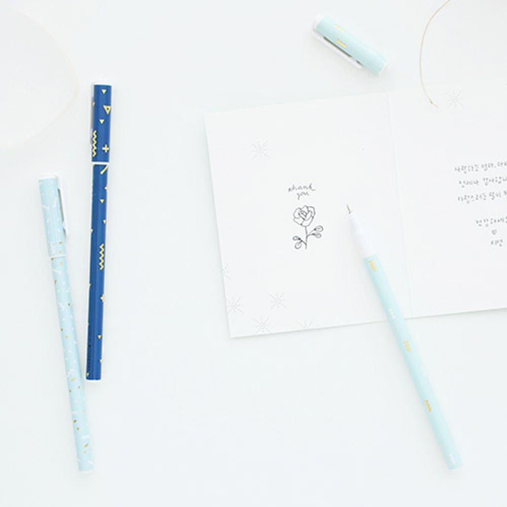 R, S, T - Pattern 0.5mm black ballpoint pen(gold)