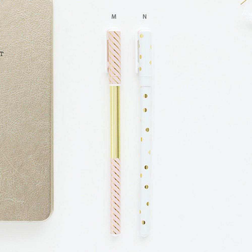 M, N - Pattern 0.5mm black ballpoint pen(gold)