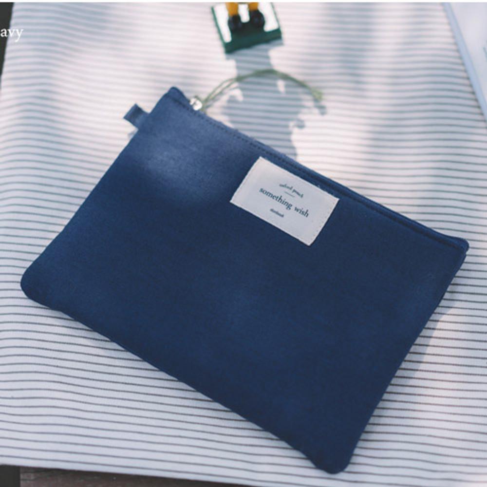 Navy - Something wish oxford medium zipper pouch
