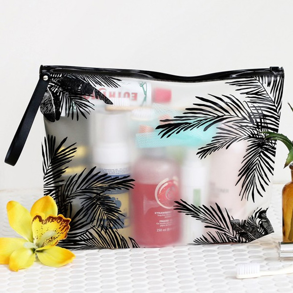 Tropical - Wind blows clear zip lock large pouch