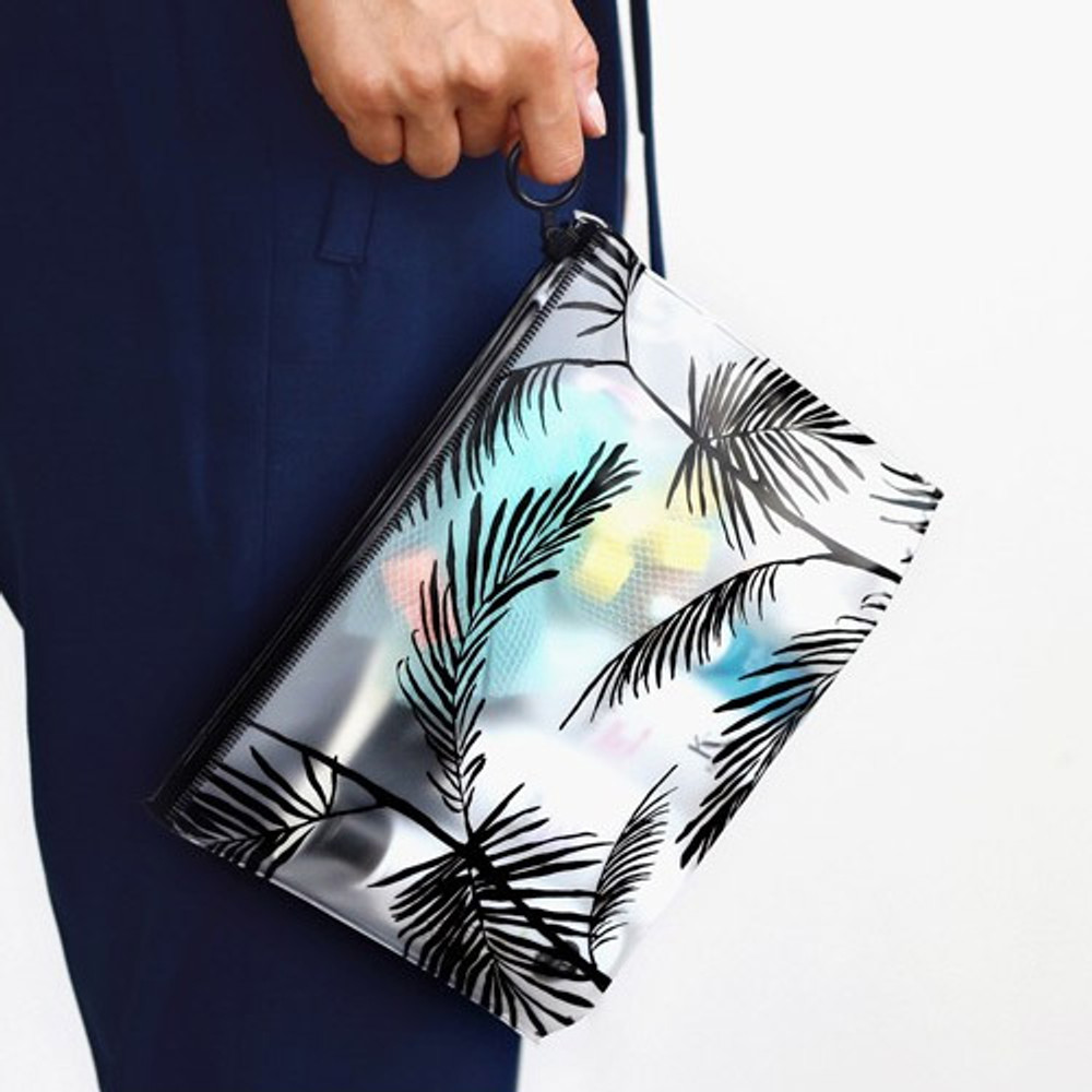 Tropical - Wind blows clear zip lock medium pouch