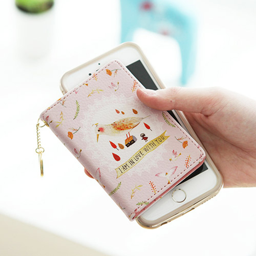 Pink - Willow story pattern snap button card case
