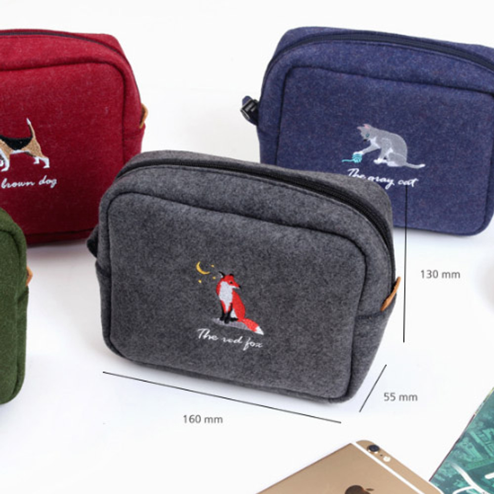 Size of Tailorbird impressive contrast animal felt frame pouch