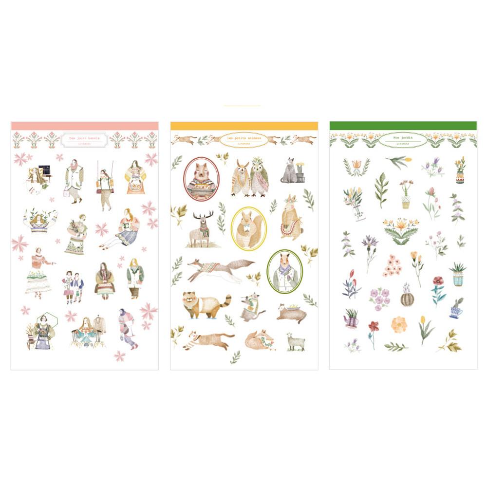 Composition of Mori illustration deco sticker set