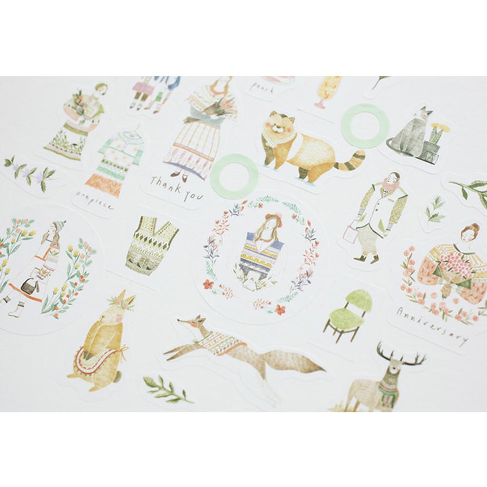 Detail of Mori illustration deco sticker set