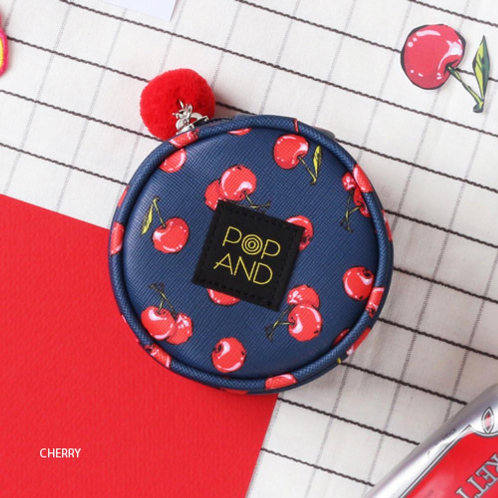 Cherry - Pop art small tambourine round pouch