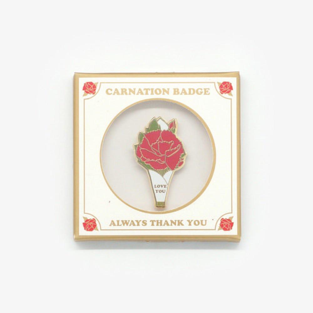 White - Always thank you carnation badge