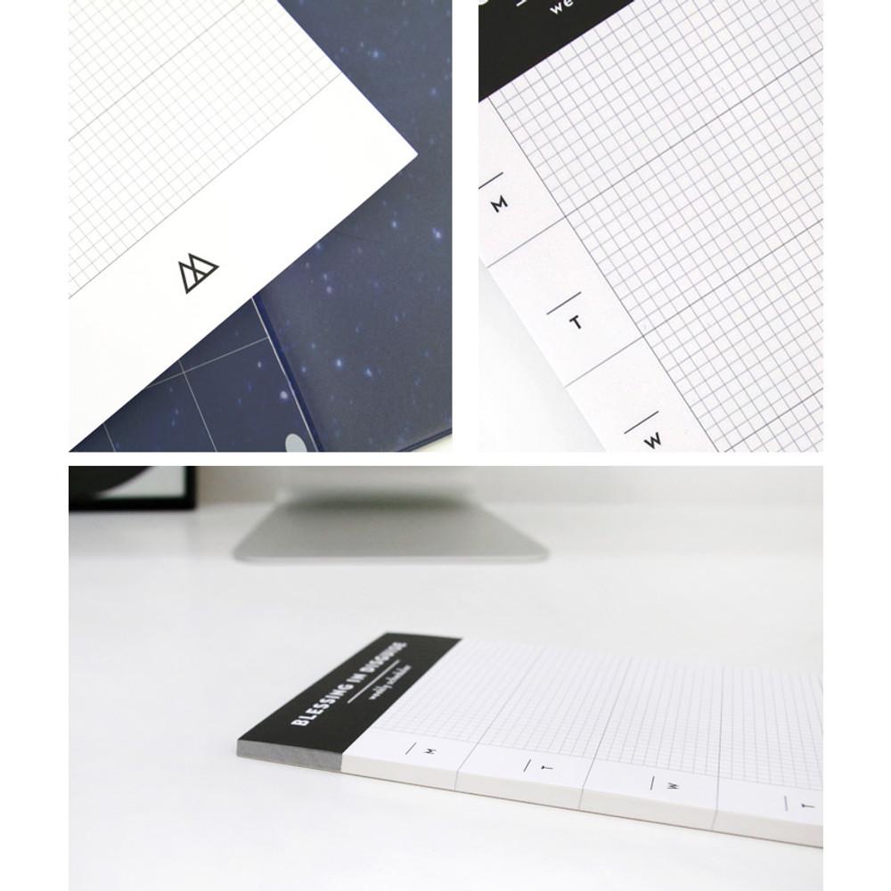 Detail of Desk side undated weekly scheduler planner