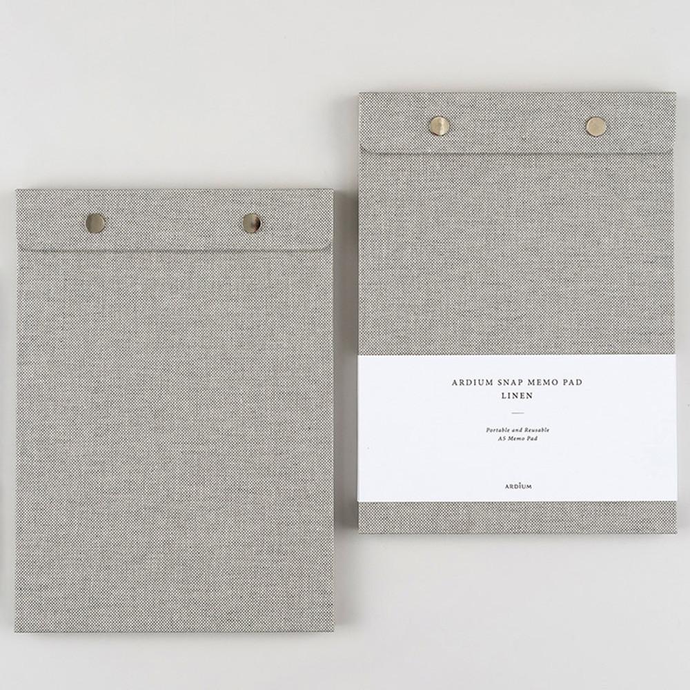 linen snap A5 quadrille notepad