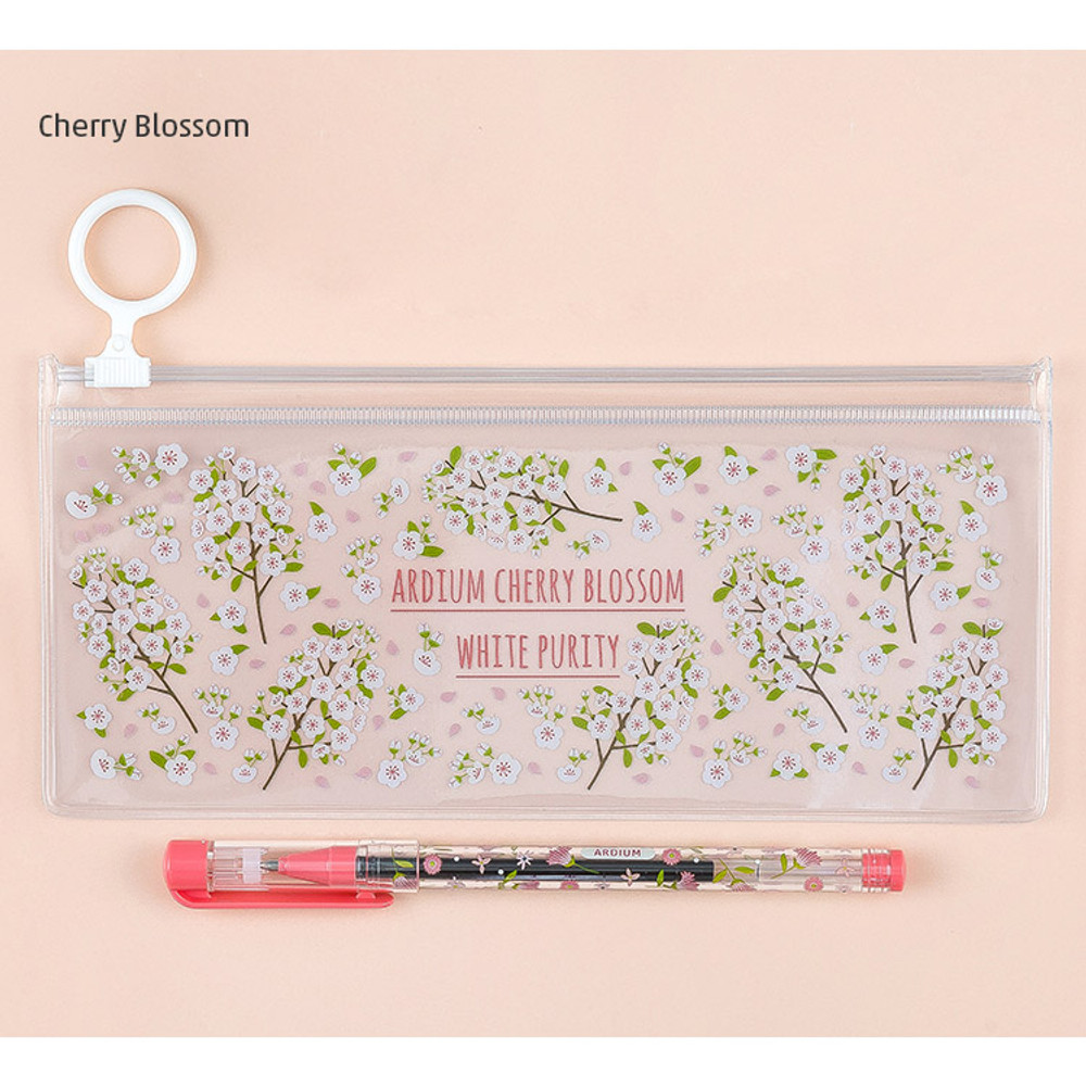 Cherry blossom - Pattern bling clear zip lock small pouch