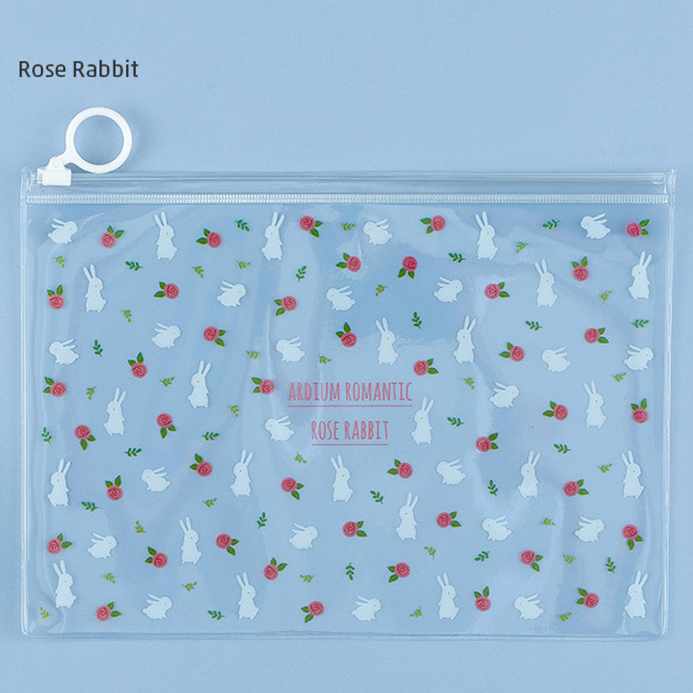 Rose rabbit - Pattern bling clear zip lock medium pouch