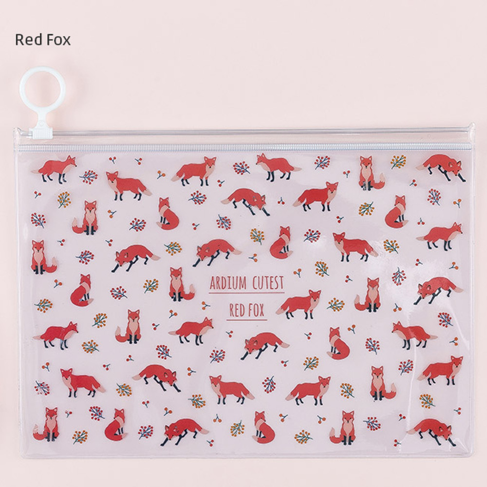 Red fox - Pattern bling clear zip lock medium pouch