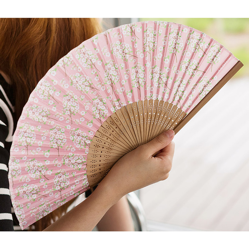 Pink cherry blossom - Flower pattern lovely folding fan