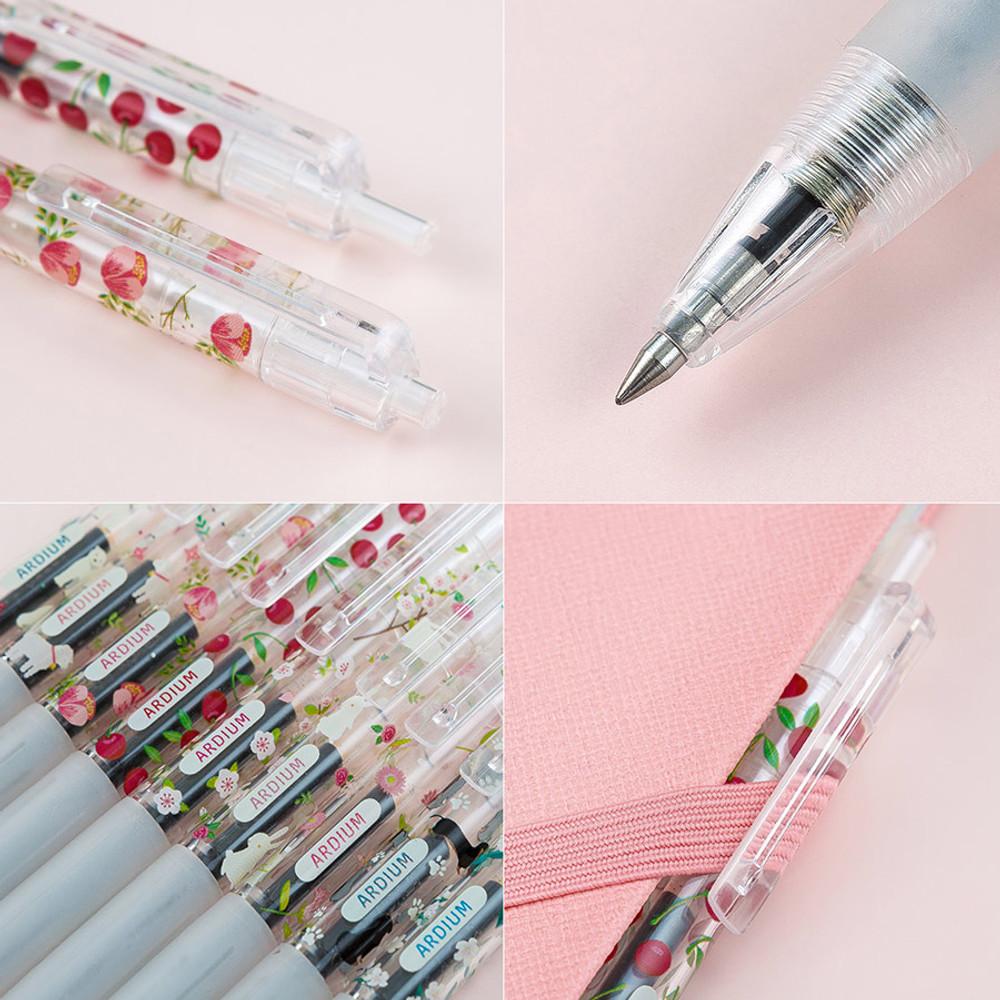 Style flower pattern knock retractable 0.5mm black gel pen