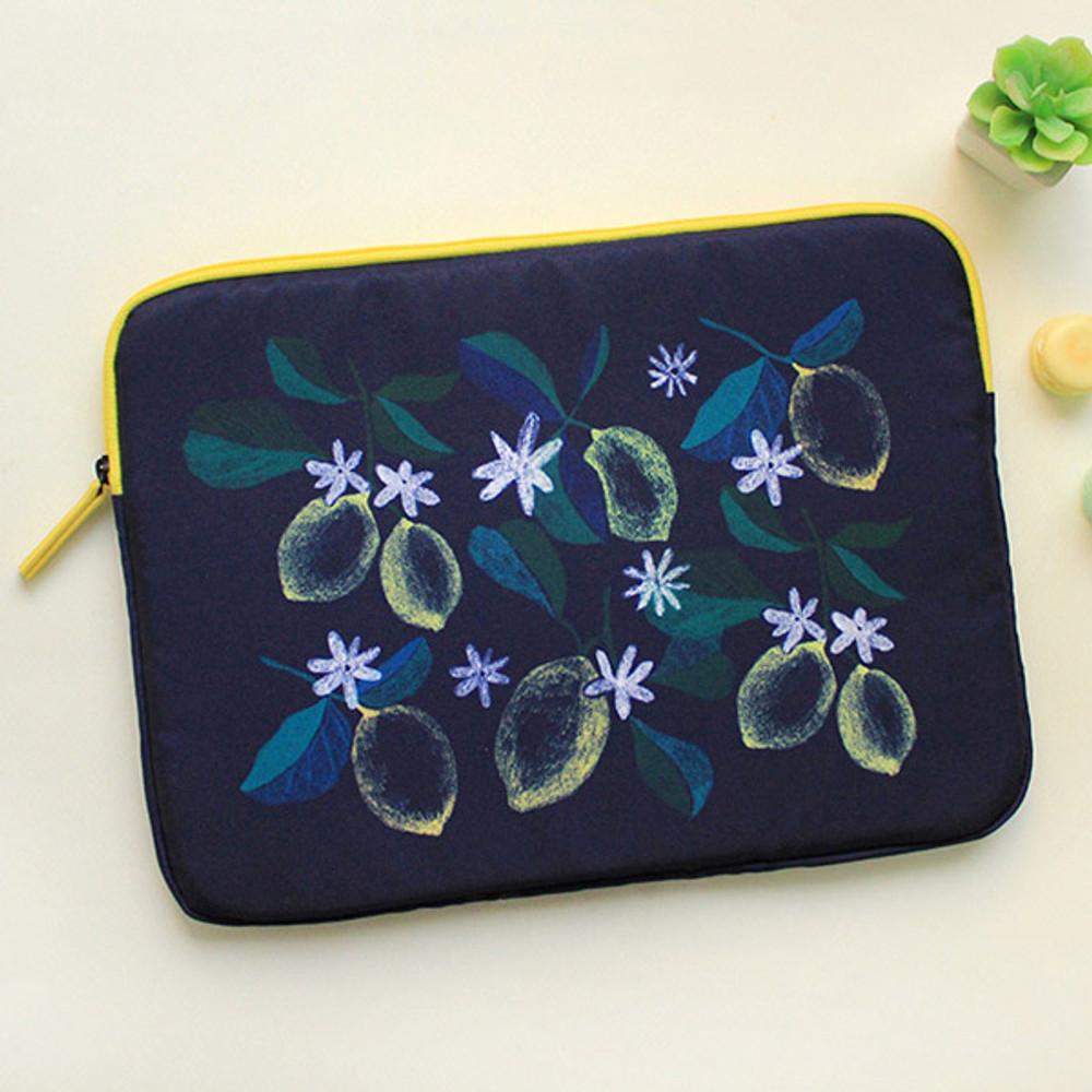 Navy lemon - Rim pattern 15 inches laptop pouch case