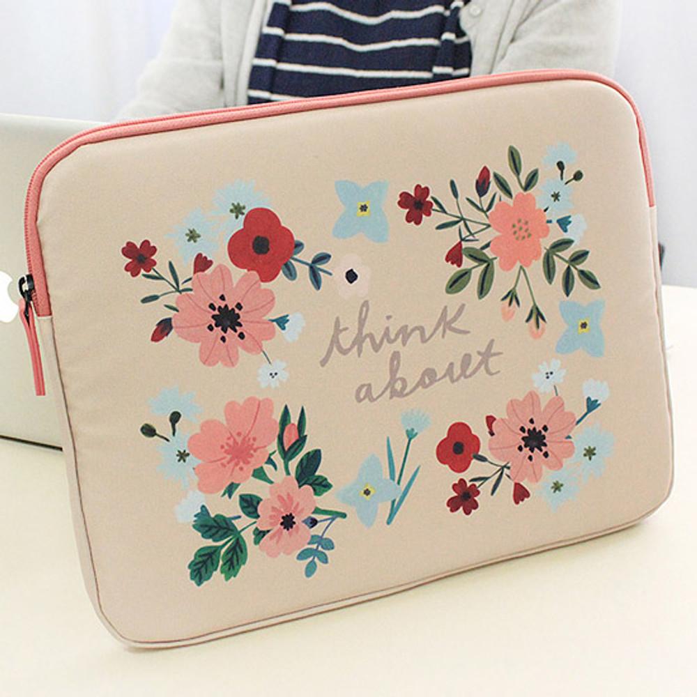 Peach - Rim pattern 15 inches laptop pouch case