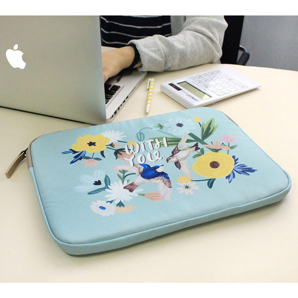 Mint - Rim pattern 15 inches laptop pouch case