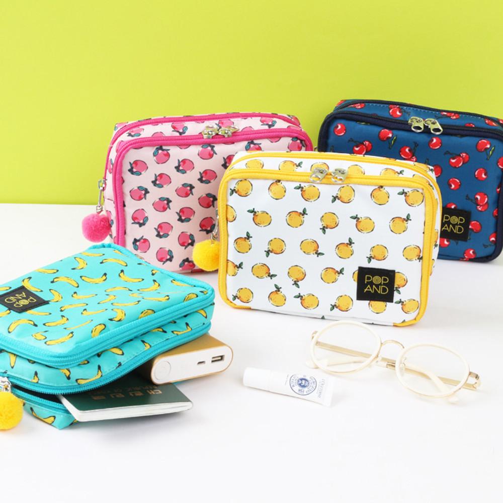 Pop art square multi zipper pouch
