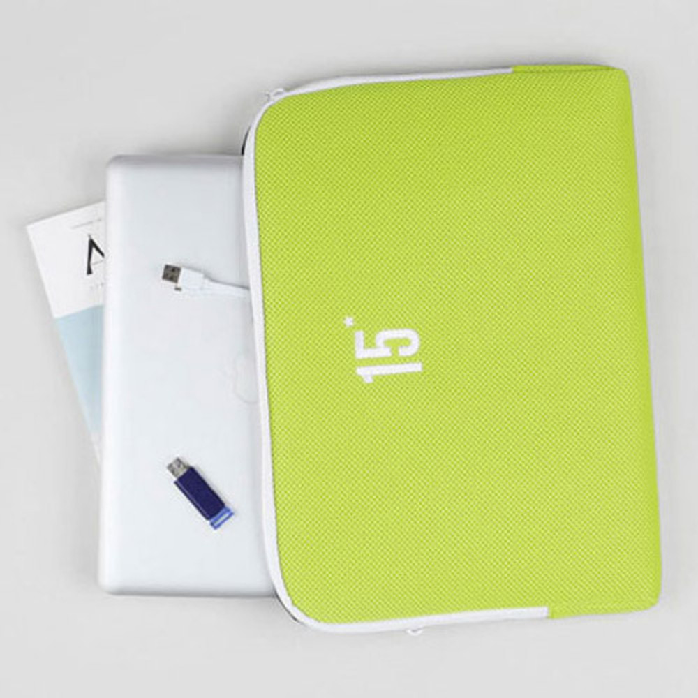Lime yellow - Table talk 15 inches laptop air mesh pouch