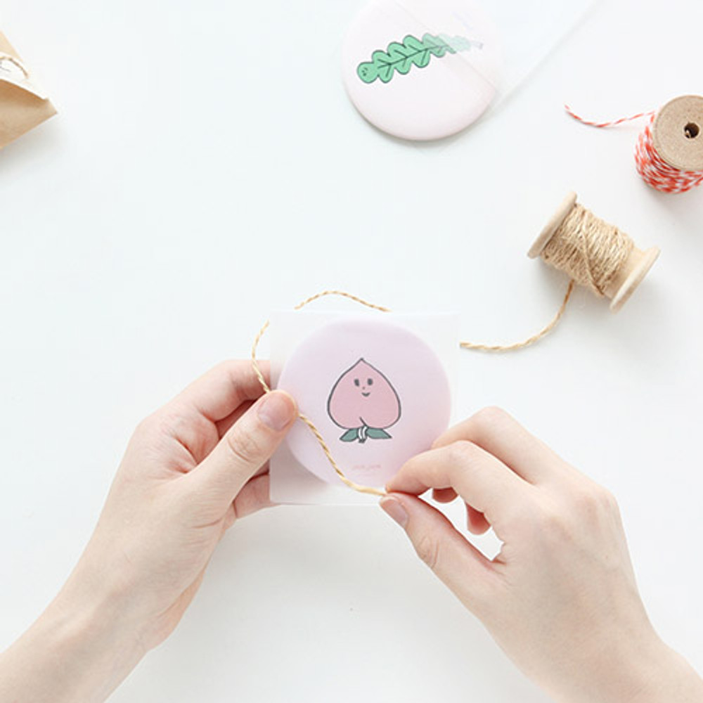 Peach - Jam Jam cute pattern round hand mirror