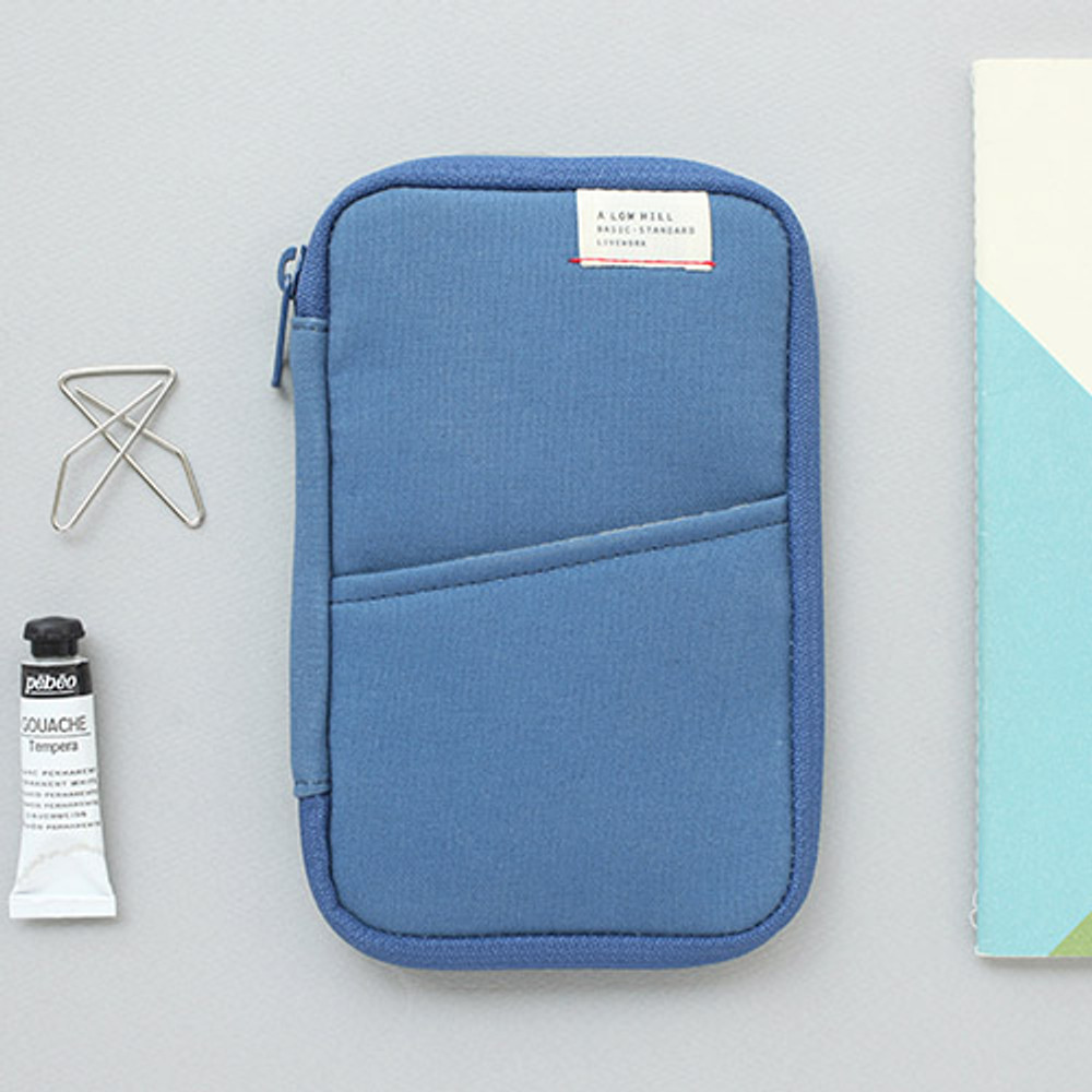 Gray blue - A low hill zip around pocket multi pouch
