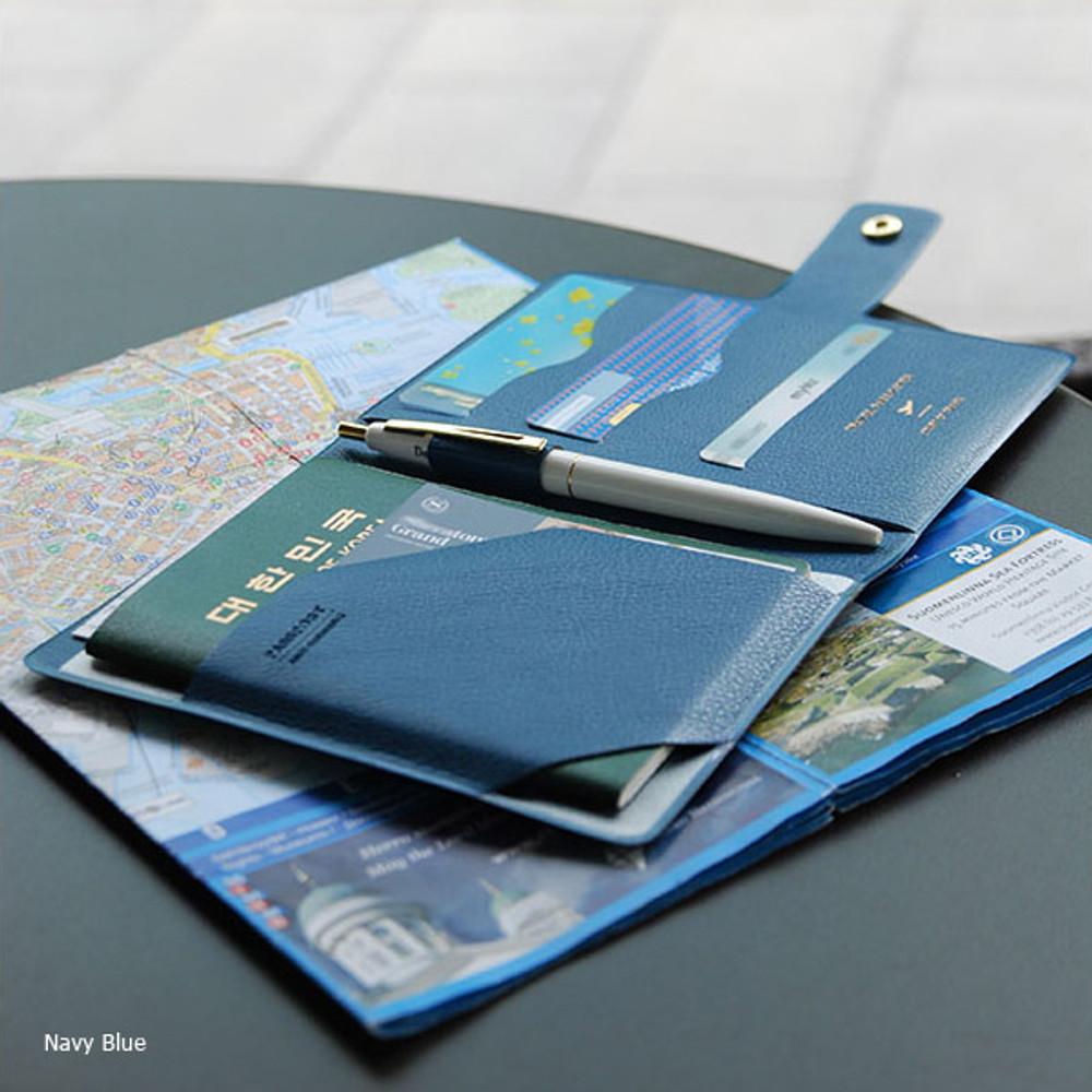 Navy blue - Start of travel RFID blocking passport cover