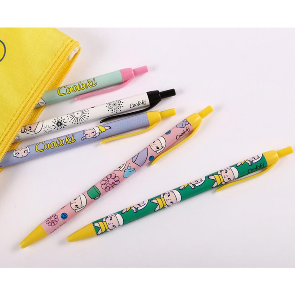 Pattern knock retractable 0.38mm black gel pen ver.2
