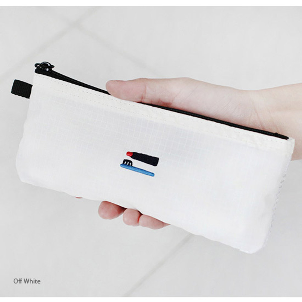 Off white - 2NUL Travel toothbrush slim zipper mesh pouch