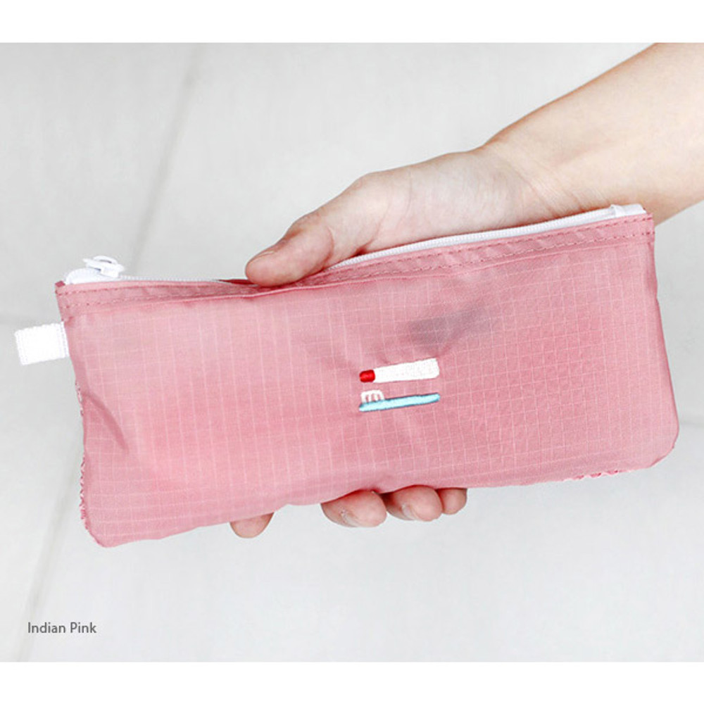 Indian pink - 2NUL Travel toothbrush slim zipper mesh pouch