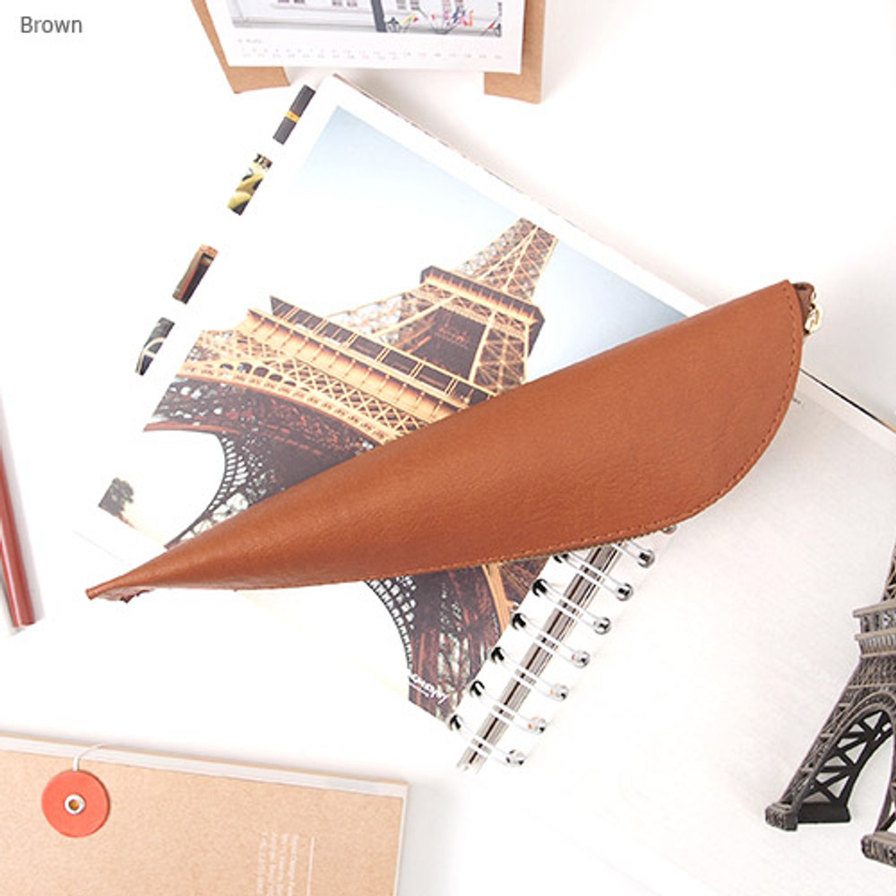 Brown - Triangle synthetic leather zipper pencil case