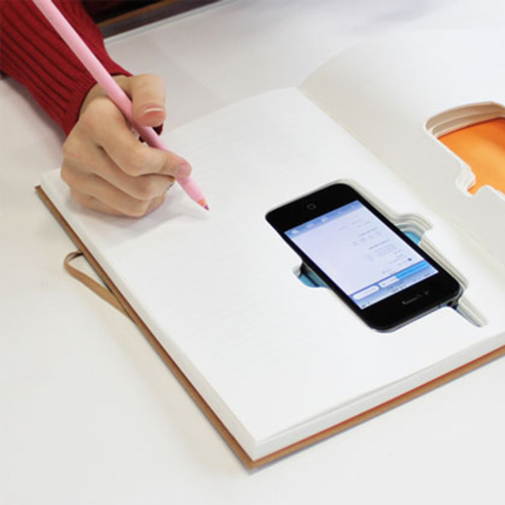 the notebook also acts as a case for the phone