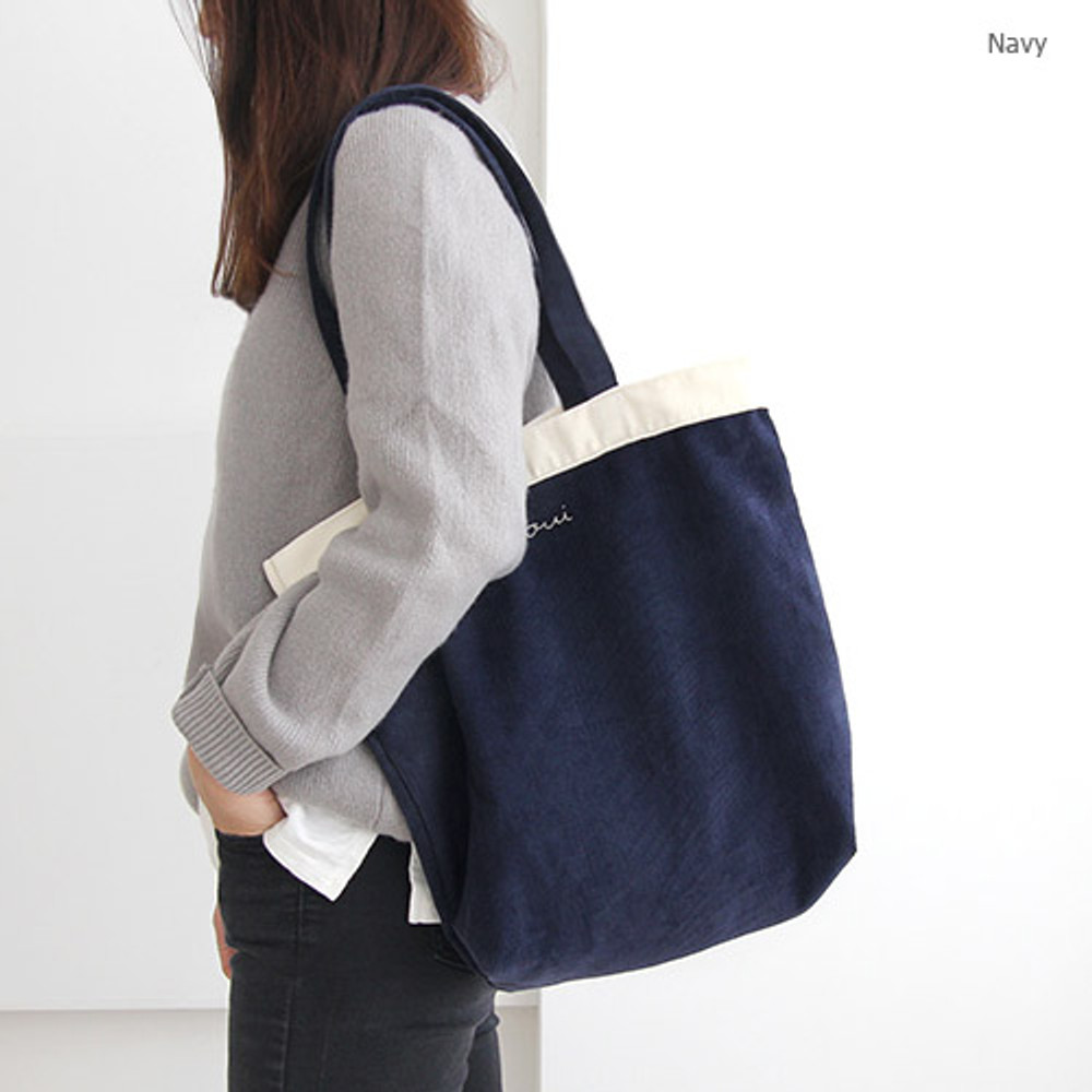 Navy - Around'D corduroy line shoulder bag tote