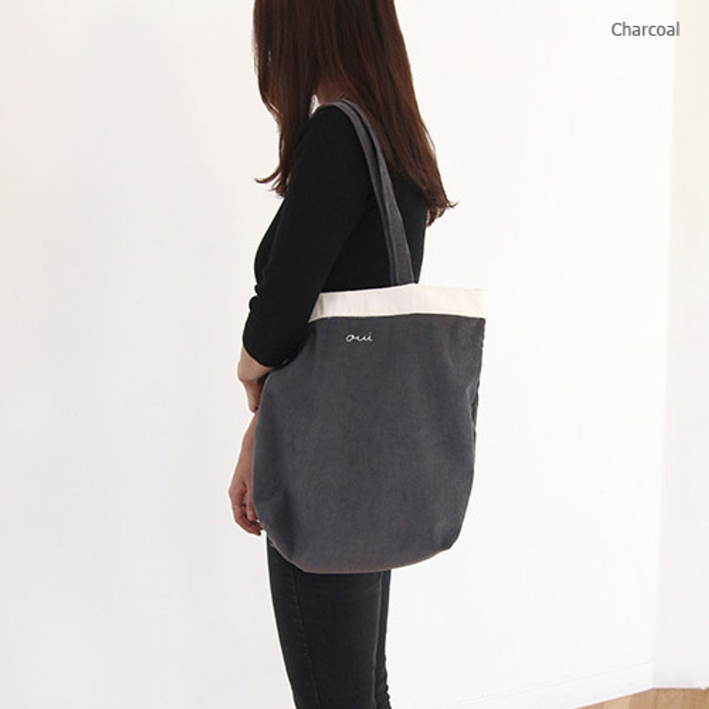 Charcoal - Around'D corduroy line shoulder bag tote