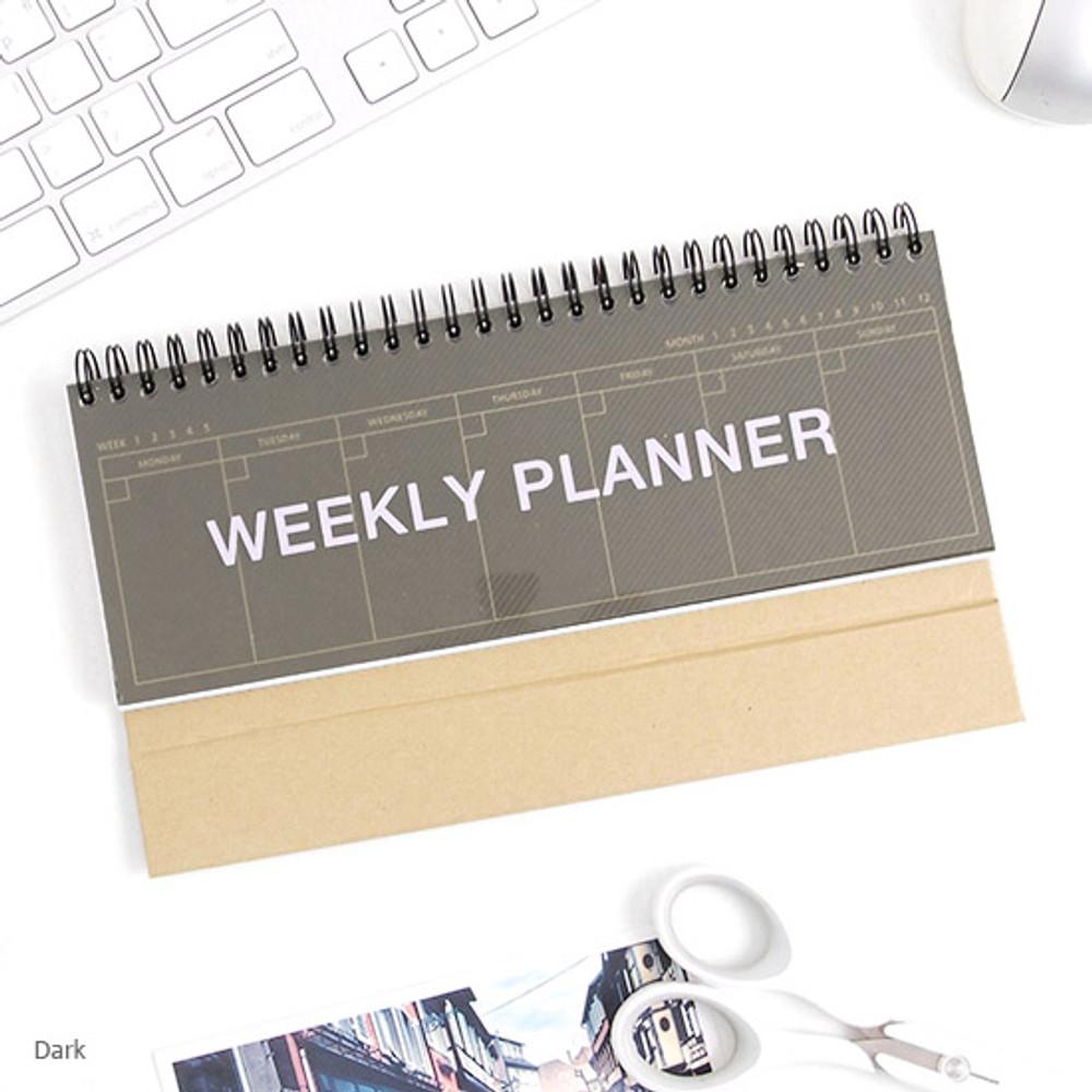 Dark - Wirebound Kraft undated weekly desk planner