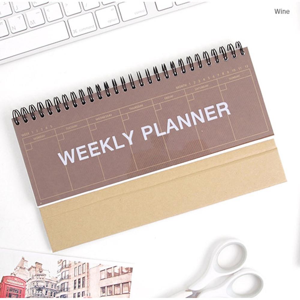 Wine - Wirebound Kraft undated weekly desk planner