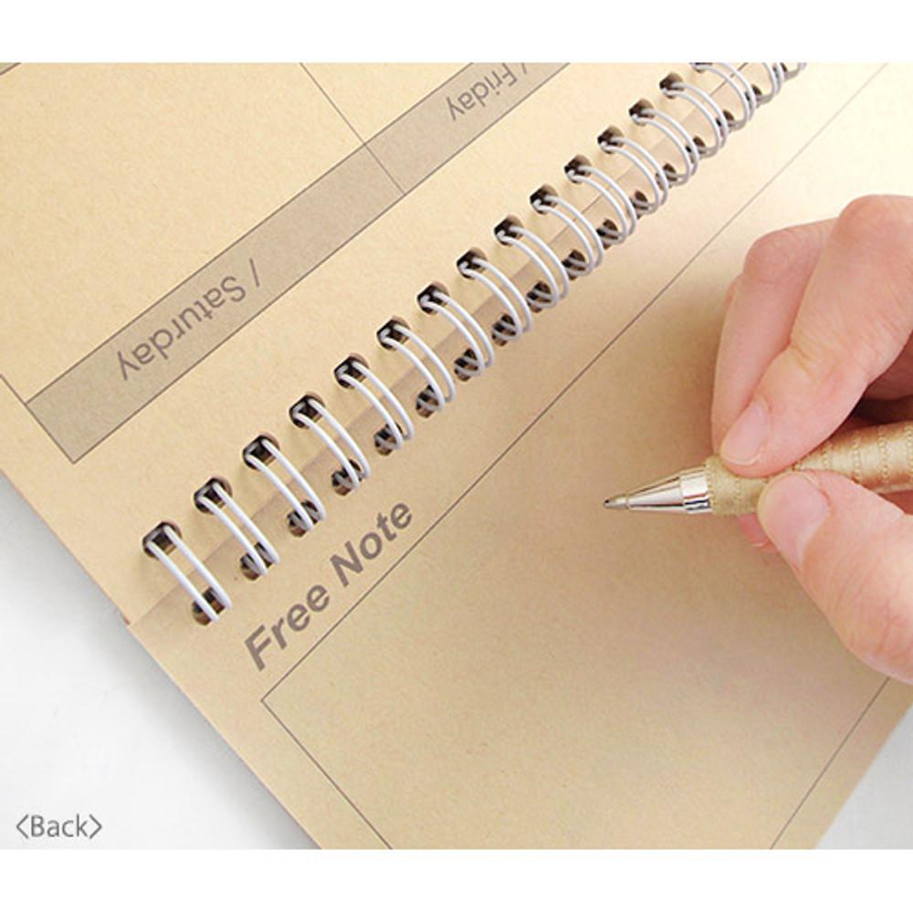 Back - Wirebound kraft undated weekly desk planner