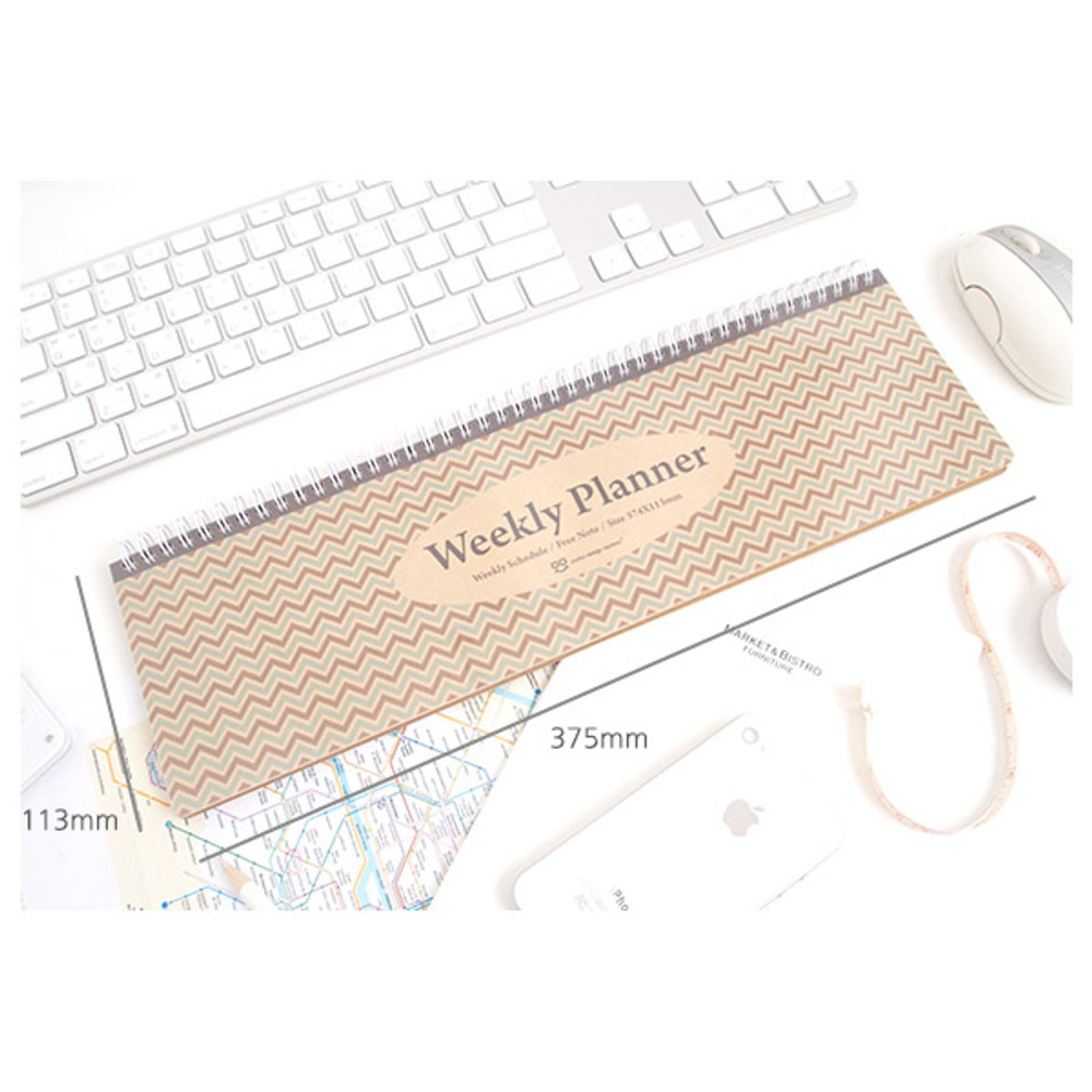 Size of Wirebound kraft undated weekly desk planner