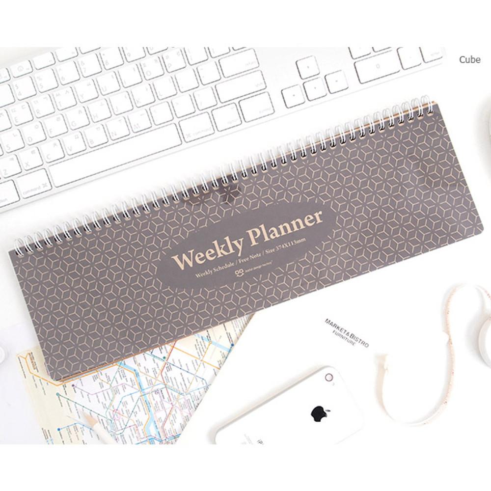 Cube - Wirebound kraft undated weekly desk planner