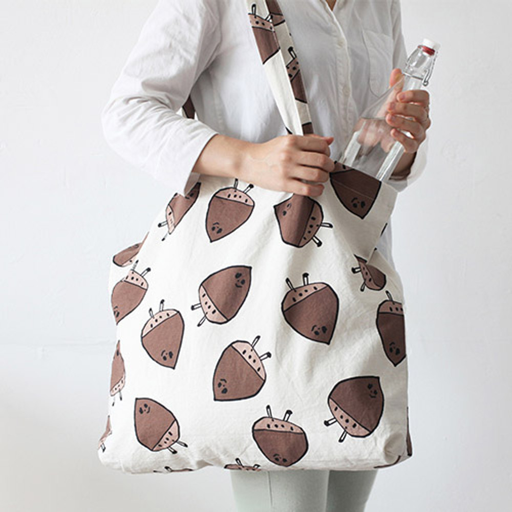 Chestnut - Jam Jam pattern cotton shopper tote bag