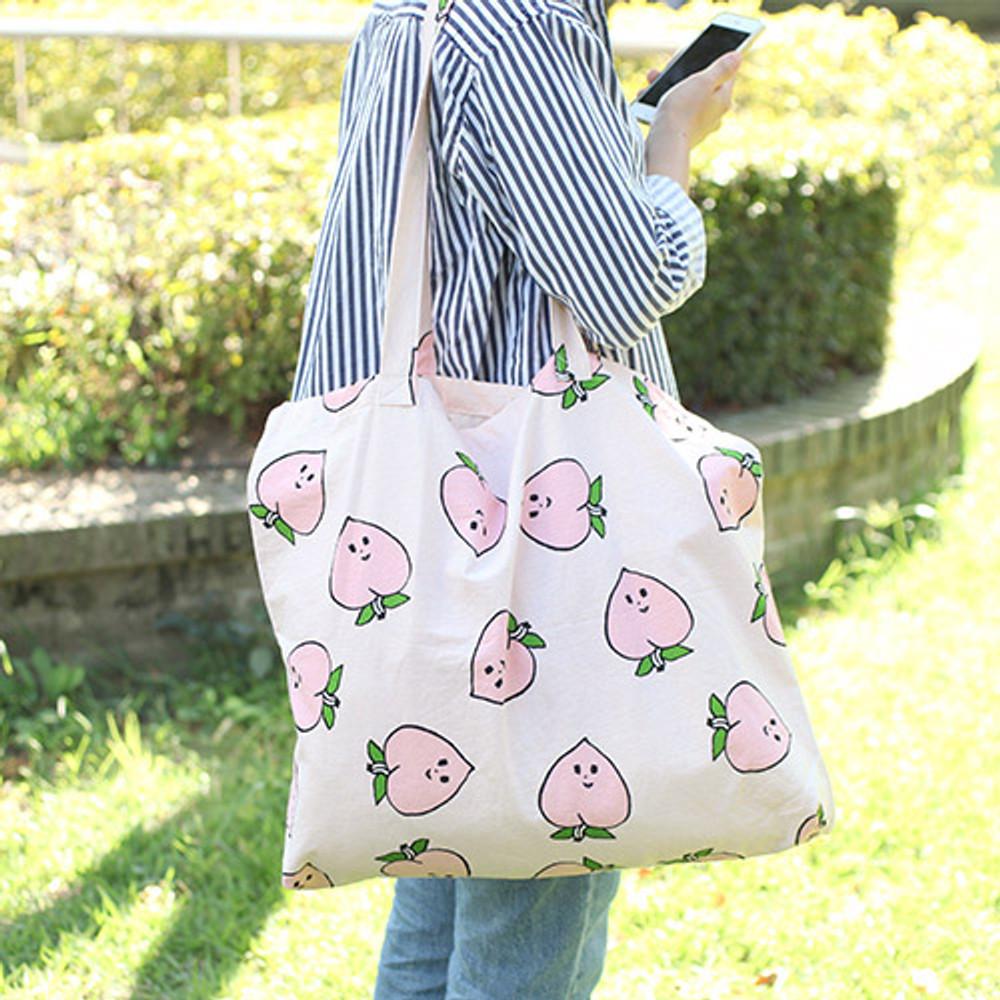 Peach - Jam Jam pattern cotton shopper tote bag